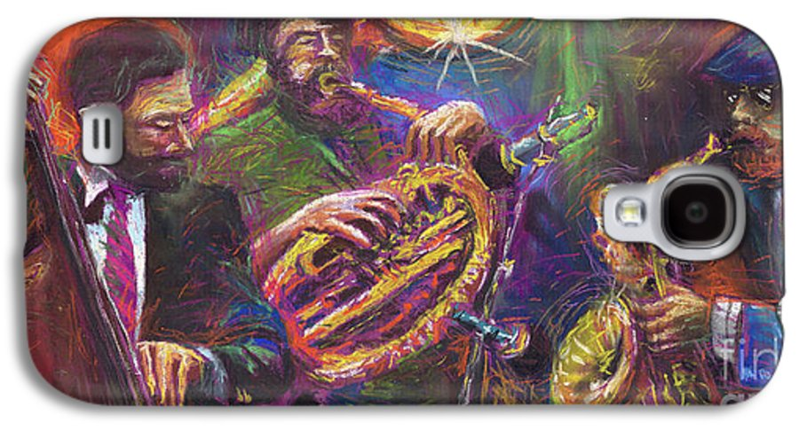 Jazz Galaxy S4 Case featuring the painting Jazz Jazzband Trio by Yuriy Shevchuk