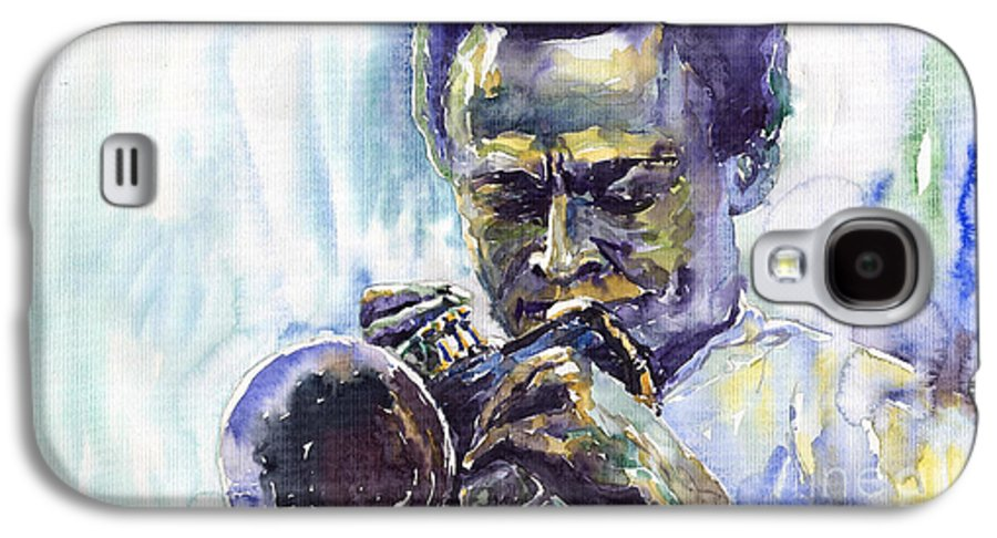 Jazz Miles Davis Music Musiciant Trumpeter Portret Galaxy S4 Case featuring the painting Jazz Miles Davis 10 by Yuriy Shevchuk