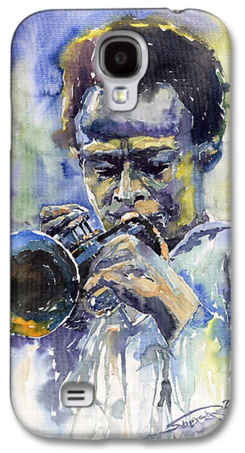 Jazz Galaxy S4 Case featuring the painting Jazz Miles Davis 12 by Yuriy Shevchuk