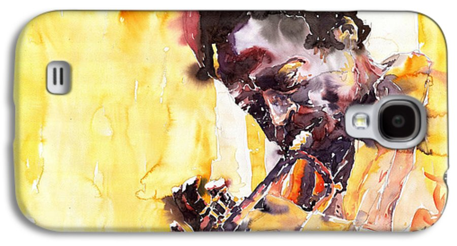 Jazz Music Watercolor Watercolour Miles Davis Trumpeter Portret Galaxy S4 Case featuring the painting Jazz Miles Davis 6 by Yuriy Shevchuk