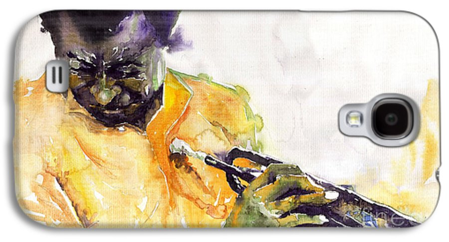 Davis Figurativ Jazz Miles Music Portret Trumpeter Watercolor Watercolour Galaxy S4 Case featuring the painting Jazz Miles Davis 7 by Yuriy Shevchuk