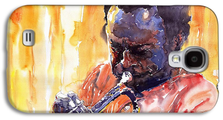 Jazz Miles Davis Music Watercolor Watercolour Figurativ Portret Trumpeter Galaxy S4 Case featuring the painting Jazz Miles Davis 8 by Yuriy Shevchuk