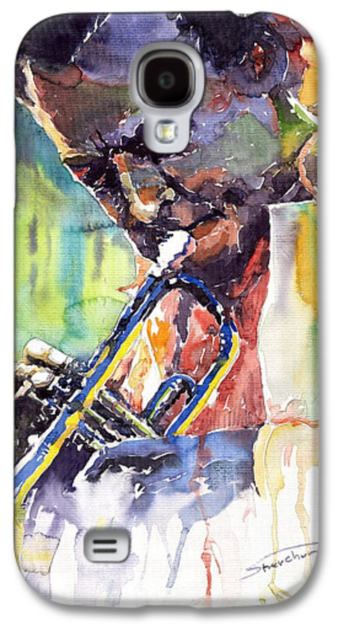 Jazz Miles Davis Music Musiciant Trumpeter Portret Galaxy S4 Case featuring the painting Jazz Miles Davis 9 Blue by Yuriy Shevchuk