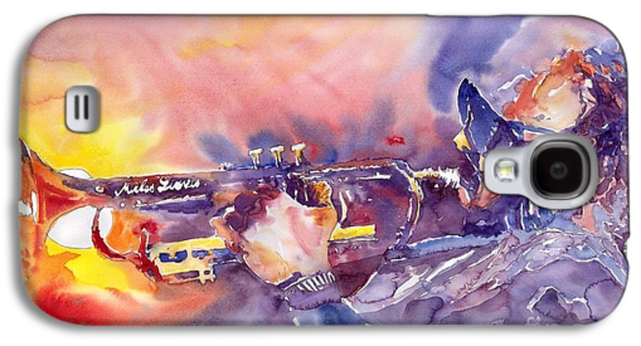 Jazz Watercolor Miles Davis Music Musician Trumpeter Figurative Watercolour Galaxy S4 Case featuring the painting Jazz Miles Davis Electric 1 by Yuriy Shevchuk