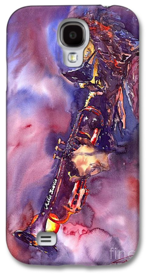 Davis Figurative Jazz Miles Music Musiciant Trumpeter Watercolor Watercolour Galaxy S4 Case featuring the painting Jazz Miles Davis Electric 3 by Yuriy Shevchuk