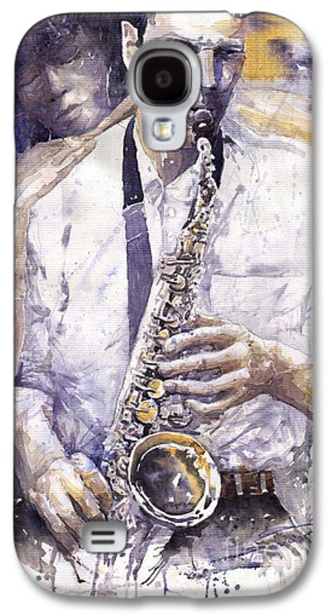 Jazz Galaxy S4 Case featuring the painting Jazz Muza Saxophon by Yuriy Shevchuk
