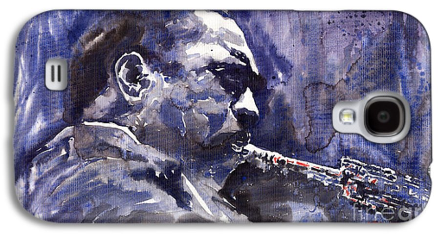 Jazz Galaxy S4 Case featuring the painting Jazz Saxophonist John Coltrane 01 by Yuriy Shevchuk