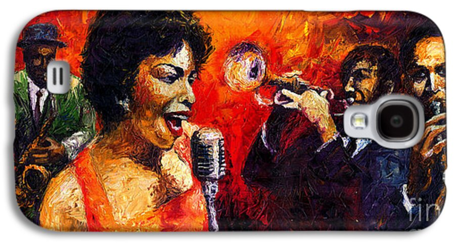 Jazz.song.trumpeter Galaxy S4 Case featuring the painting Jazz Song by Yuriy Shevchuk