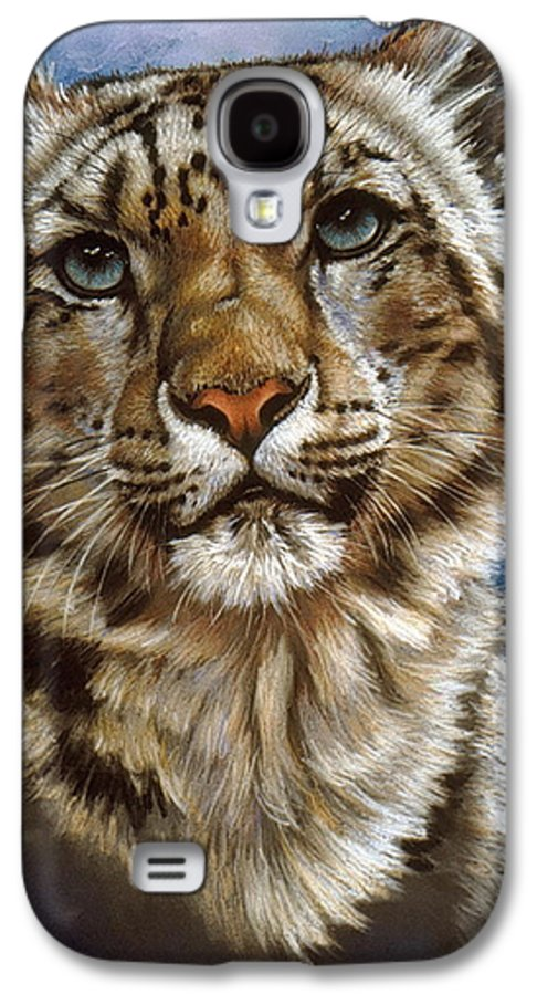 Snow Leopard Galaxy S4 Case featuring the pastel Jewel by Barbara Keith