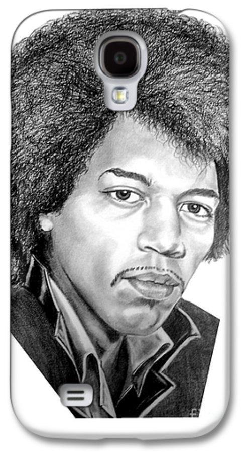 Jimmi Hendrix Galaxy S4 Case featuring the drawing Jimmi Hendrix By Murphy Art. Elliott by Murphy Elliott