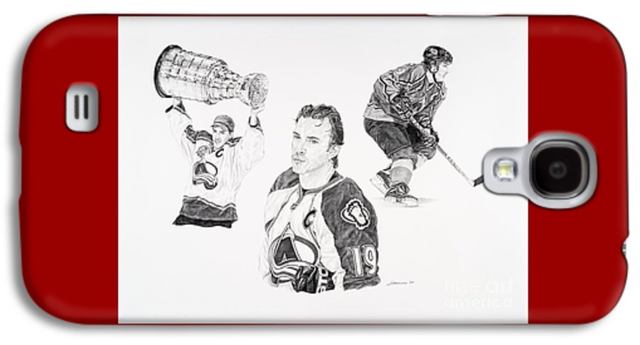Hockey Galaxy S4 Case featuring the drawing Joe Sakic by Shawn Stallings