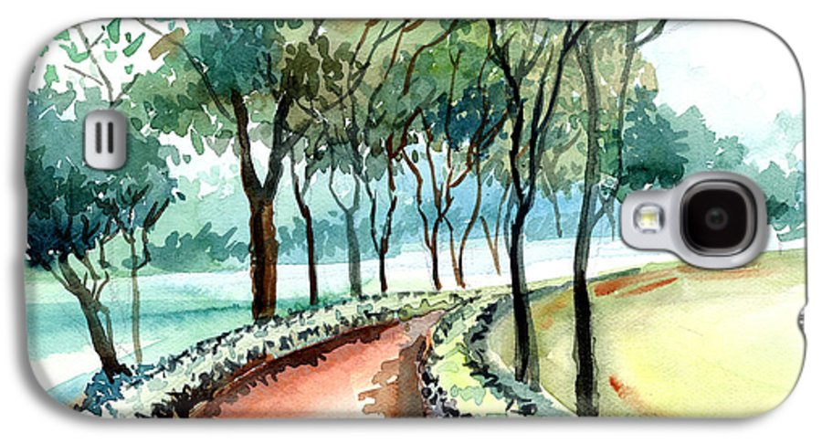 Landscape Galaxy S4 Case featuring the painting Jogging Track by Anil Nene