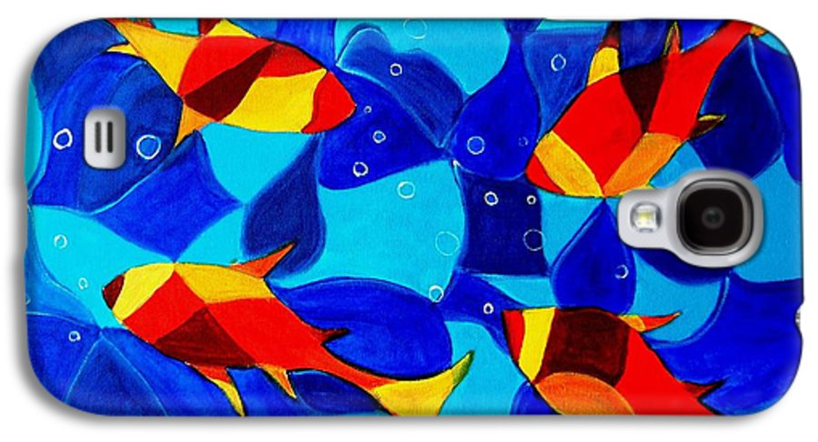 Abstract.acrylic.fish.bubbles.art.painting.modern.contemporary.popblue Red Bubbles Yellow Landscape Galaxy S4 Case featuring the painting Joy Fish Abstract by Manjiri Kanvinde