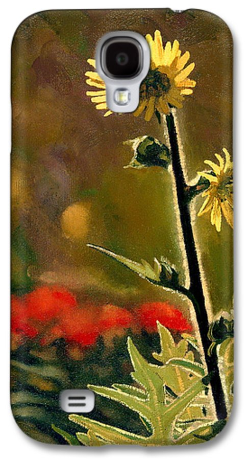 Prairie Flowers Galaxy S4 Case featuring the painting July Afternoon-compass Plant by Bruce Morrison