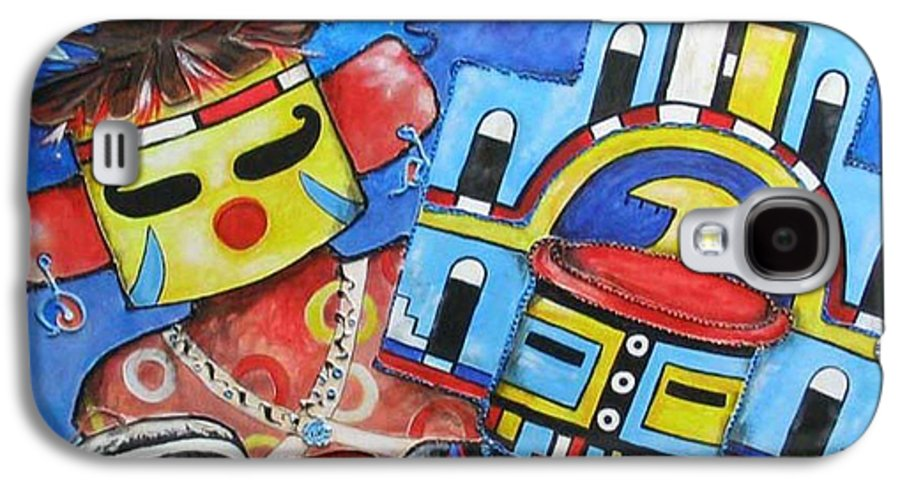 Native Galaxy S4 Case featuring the painting Kachina Knights by Elaine Booth-Kallweit