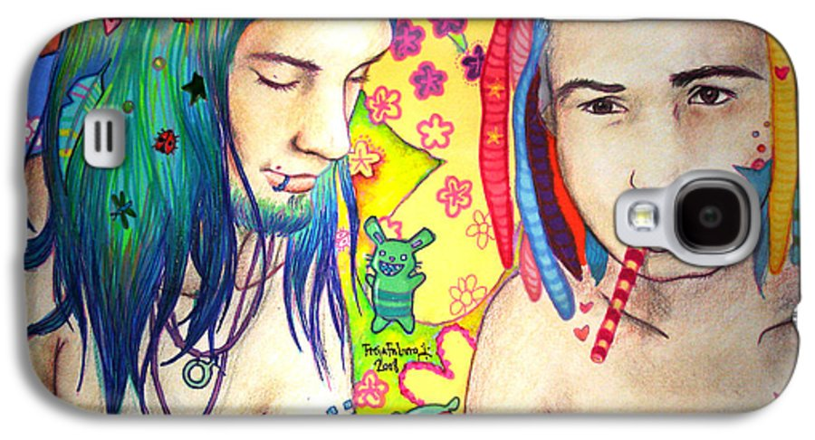 Colours Galaxy S4 Case featuring the drawing Kamil And Louis by Freja Friborg