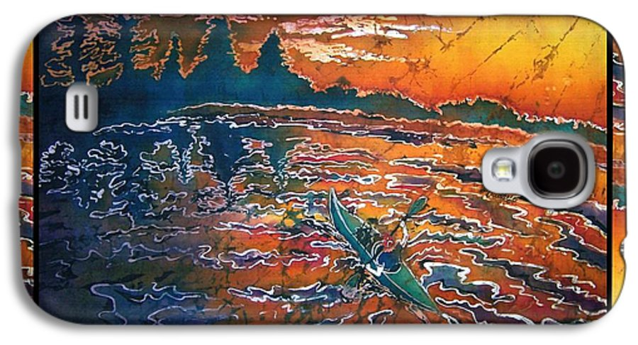 Kayak Galaxy S4 Case featuring the painting Kayaking Serenity - Bordered by Sue Duda