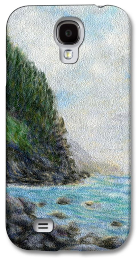 Rainbow Colors Pastel Galaxy S4 Case featuring the painting Ke'e Rocks by Kenneth Grzesik