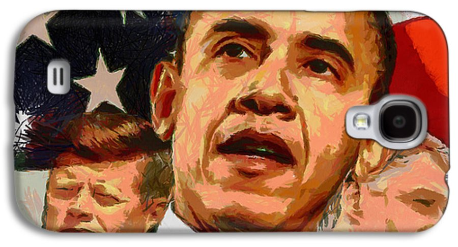 Portrait Galaxy S4 Case featuring the painting Kennedy-clinton-obama by Anthony Caruso