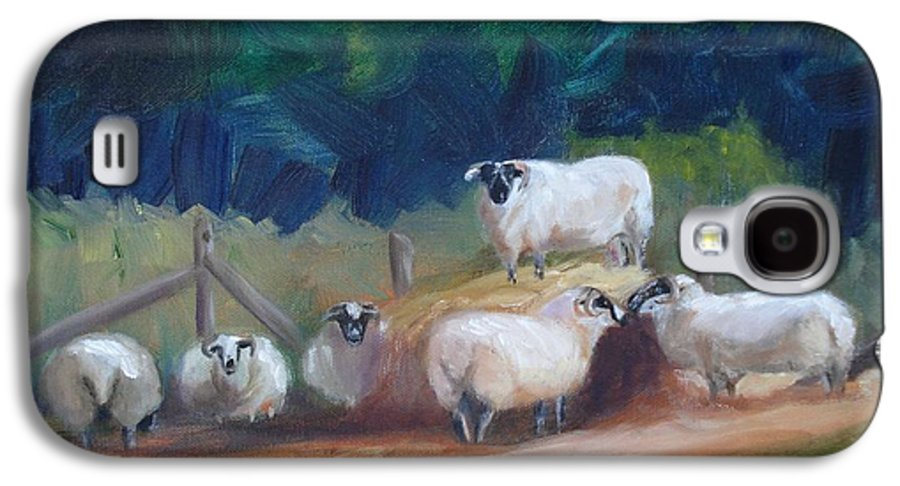 Sheep Galaxy S4 Case featuring the painting King Of Green Hill Farm by Donna Tuten
