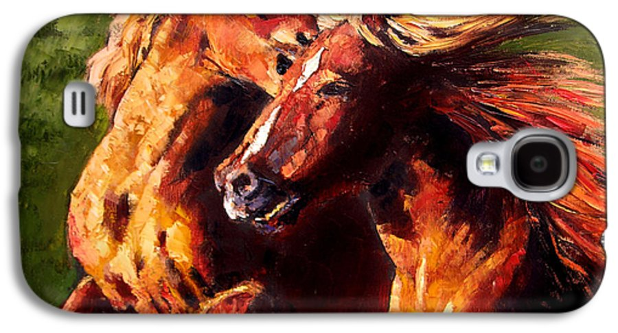 Horses Running Galaxy S4 Case featuring the painting Kiss On The Run by John Lautermilch