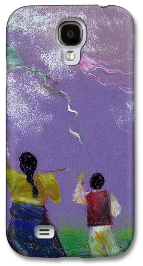 Flying Kite In A Sunny Day-oil Pastel Galaxy S4 Case featuring the drawing Kite Flying by Mui-Joo Wee