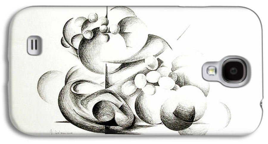 Abstract Galaxy S4 Case featuring the drawing La Guerre Des Bulles by Muriel Dolemieux