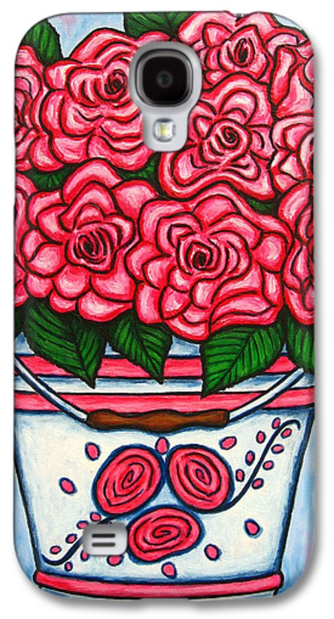 Rose Galaxy S4 Case featuring the painting La Vie En Rose by Lisa Lorenz