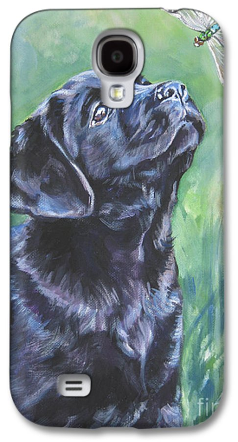 Dog Galaxy S4 Case featuring the painting Labrador Retriever Pup And Dragonfly by Lee Ann Shepard