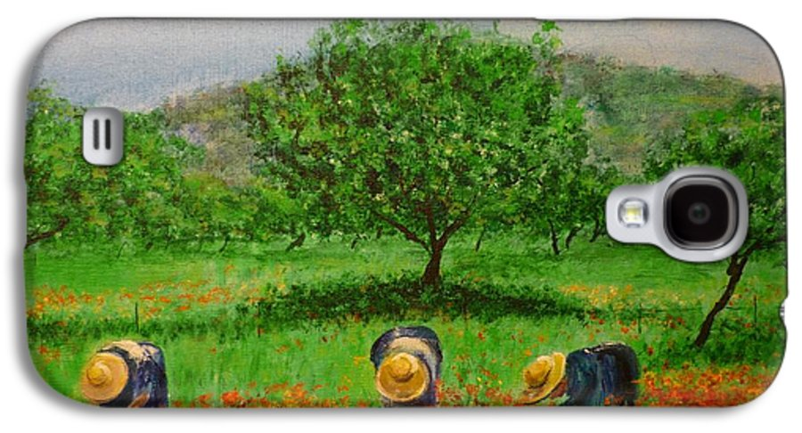 Club Diario De Ibiza Galaxy S4 Case featuring the painting Ladies In Poppy Fields Ibiza by Lizzy Forrester