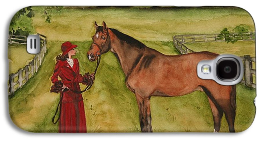 Horse Galaxy S4 Case featuring the painting Lady And Horse by Jean Blackmer