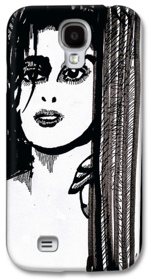 Sad Lady Galaxy S4 Case featuring the drawing Lady At The Door by Seth Weaver