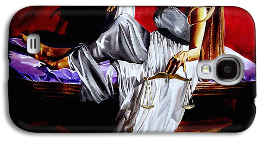 Law Galaxy S4 Case featuring the painting Lady Justice by Laura Pierre-Louis