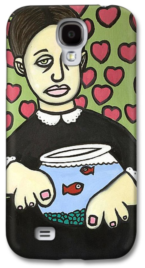 Galaxy S4 Case featuring the painting Lady With Fish Bowl by Thomas Valentine