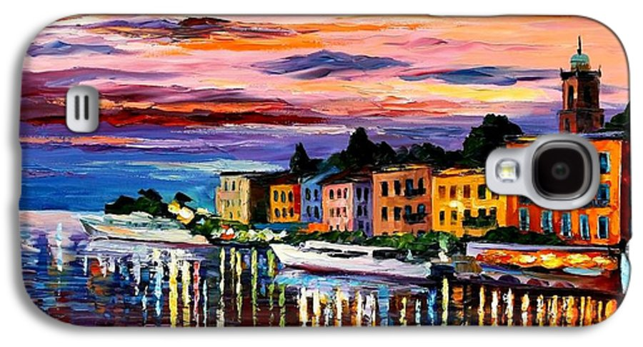 Cityscape Galaxy S4 Case featuring the painting Lake Como - Bellagio by Leonid Afremov