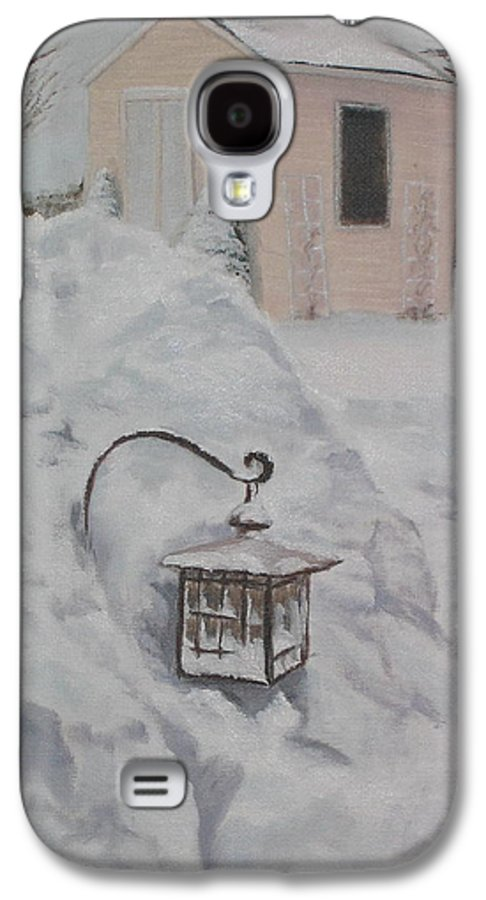 Snow Galaxy S4 Case featuring the painting Lantern In The Snow by Lea Novak