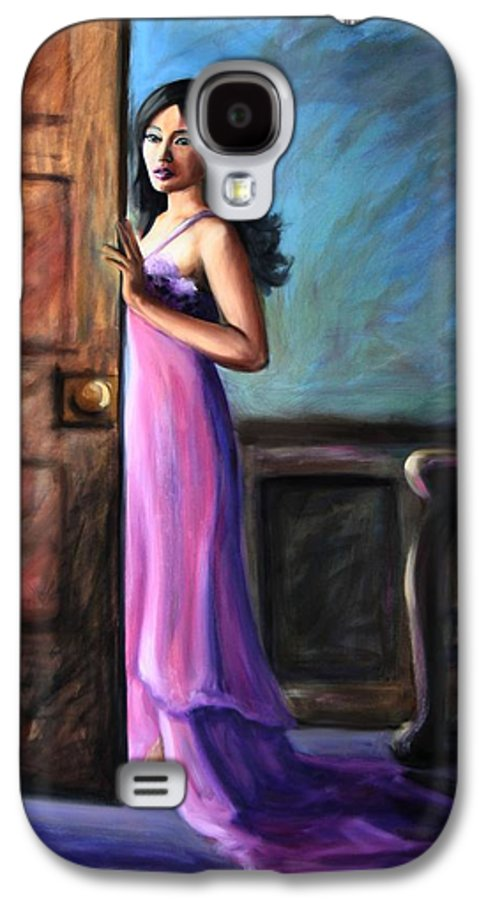 Woman Galaxy S4 Case featuring the painting Last Glance by Maryn Crawford