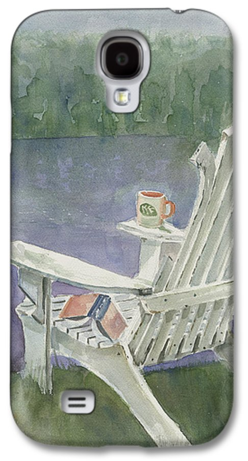 Chair Galaxy S4 Case featuring the painting Lawn Chair By The Lake by Arline Wagner