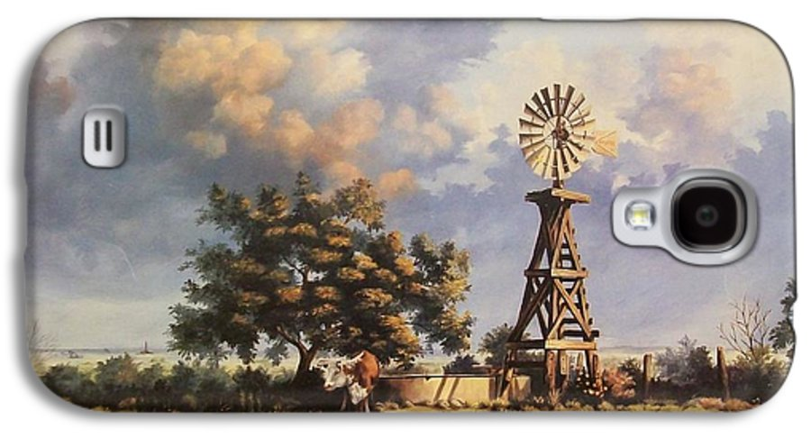 A New Mexico Landscape. Galaxy S4 Case featuring the painting Lea County Memories by Wanda Dansereau