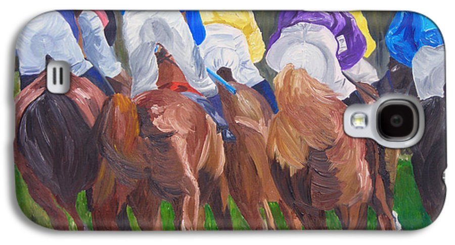 Horse Racing Galaxy S4 Case featuring the painting Leading The Pack by Michael Lee