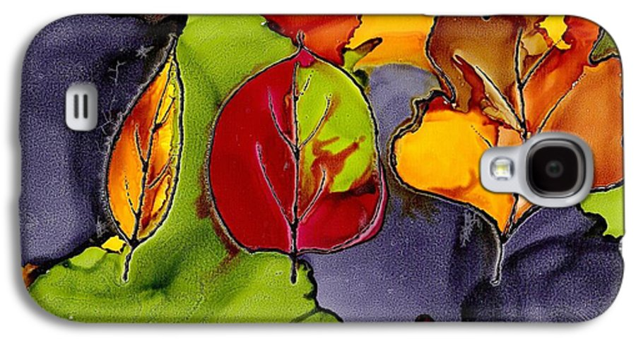 Leaf Galaxy S4 Case featuring the painting Leaf Brilliance by Susan Kubes
