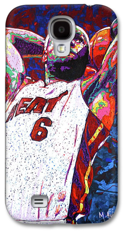 Lebron Galaxy S4 Case featuring the painting Lebron Dunk by Maria Arango