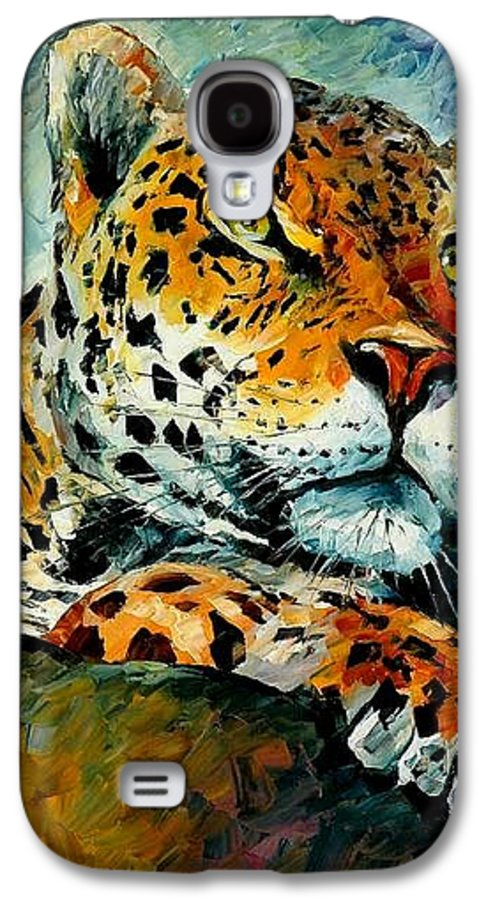 Animals Galaxy S4 Case featuring the painting Leopard by Leonid Afremov