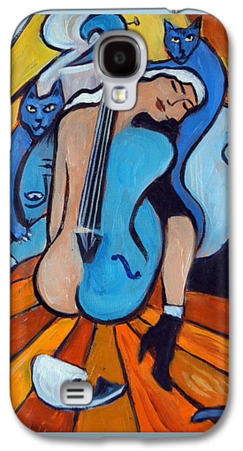 Cubic Abstract Galaxy S4 Case featuring the painting Les Chats Bleus by Valerie Vescovi