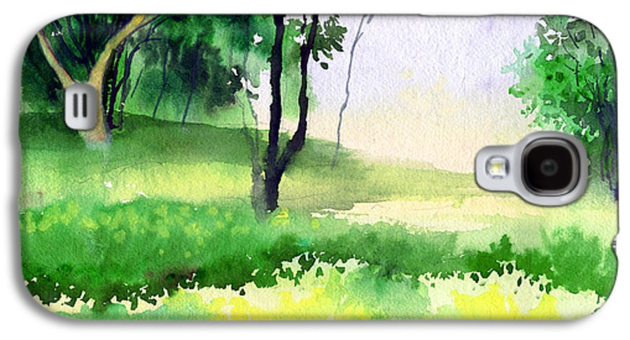 Watercolor Galaxy S4 Case featuring the painting Let's Go For A Walk by Anil Nene