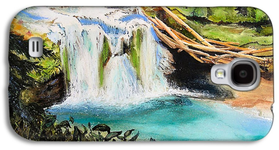 Water Galaxy S4 Case featuring the painting Lewis River Falls by Karen Stark