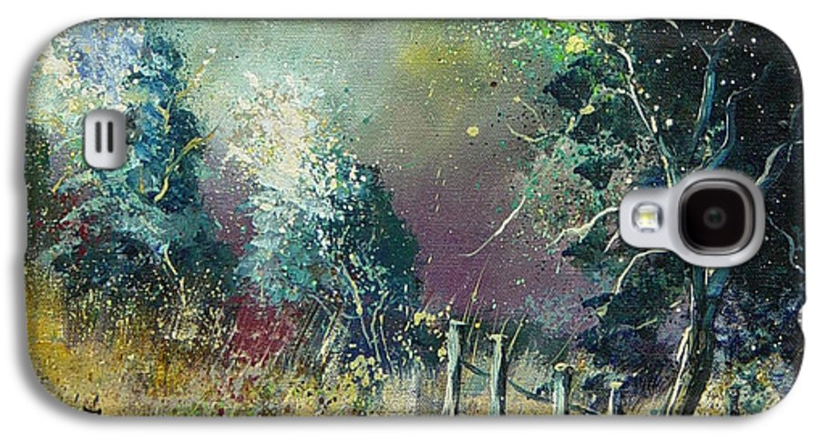Landscape Galaxy S4 Case featuring the painting Light On Trees by Pol Ledent