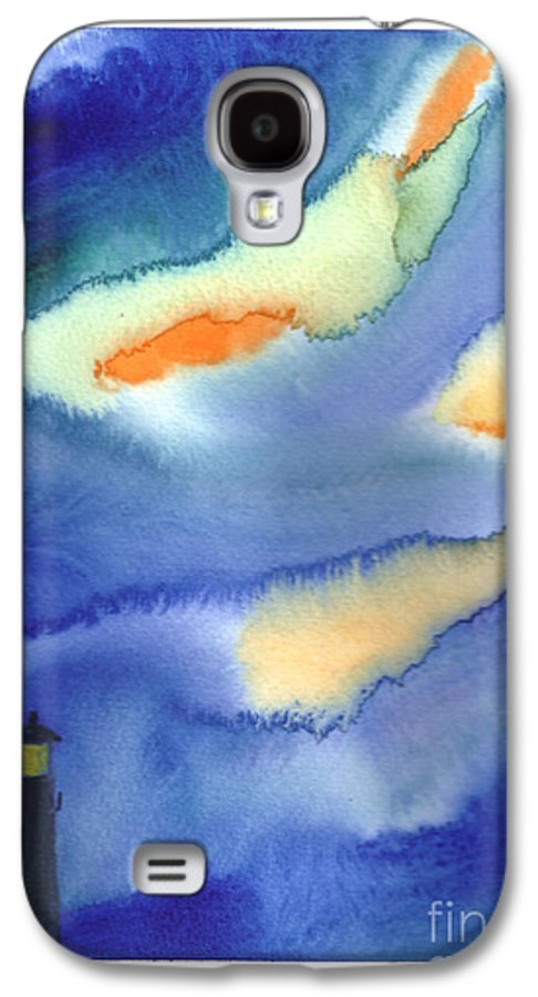 A Lighthouse In A Beautiful Stormy Night. This Is A Contemporary Watercolor Painting. Galaxy S4 Case featuring the painting Lighthouse by Mui-Joo Wee
