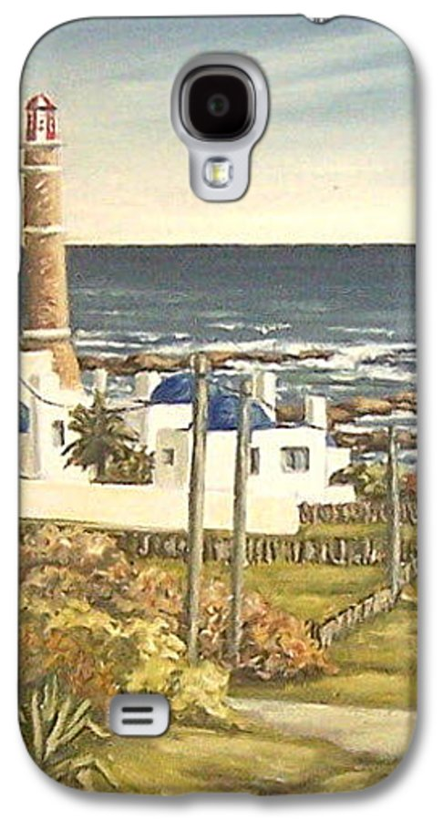 Lighthouse Seascape Sea Water Uruguay Galaxy S4 Case featuring the painting Lighthouse Uruguay by Natalia Tejera