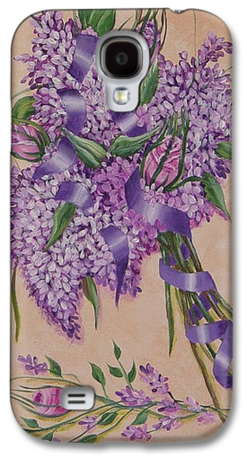 Lilacs Galaxy S4 Case featuring the painting Lilacs by Quwatha Valentine